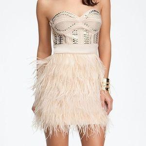 NWT Bebe Blush Studded Embellished Feather Dress